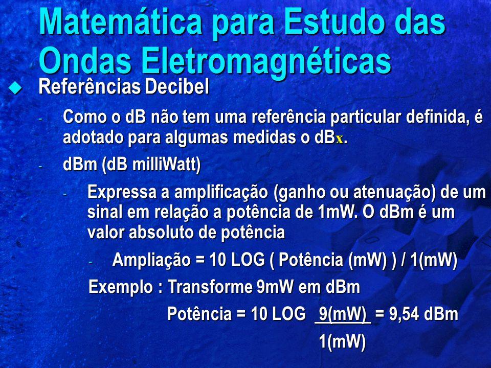  Referências Decibel - Como o dB não tem uma referência particular definida, é adotado para algumas medidas o dB x. - dBm (dB milliWatt) - Expressa a