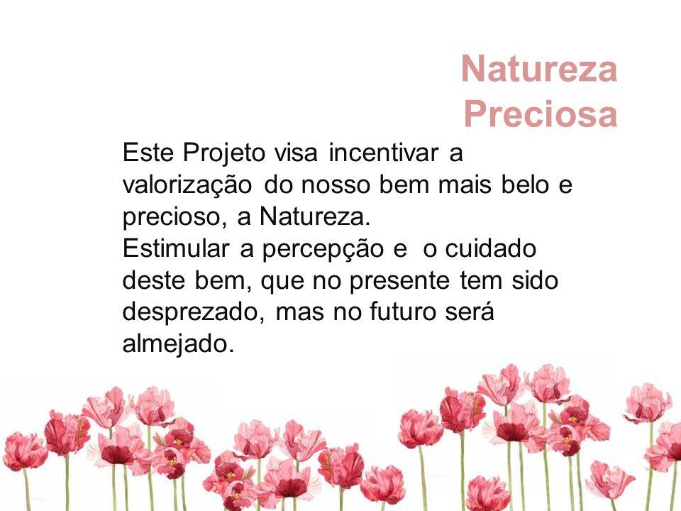 Natureza Preciosa Este Projeto visa incentivar a valorização do nosso bem mais belo e precioso, a Natureza. Estimular a percepção e o cuidado deste be