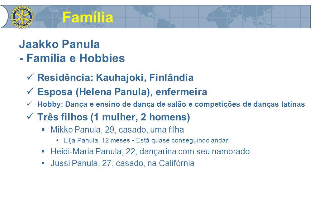 Jaakko Panula - Família e Hobbies Residência: Kauhajoki, Finlândia Esposa (Helena Panula), enfermeira Hobby: Dança e ensino de dança de salão e competições de danças latinas Três filhos (1 mulher, 2 homens)  Mikko Panula, 29, casado, uma filha Lilja Panula, 12 meses - Está quase conseguindo andar.