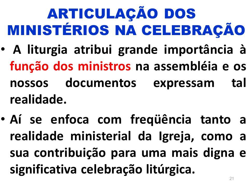 A liturgia atribui grande importância à função dos ministros na assembléia e os nossos documentos expressam tal realidade. Aí se enfoca com freqüência