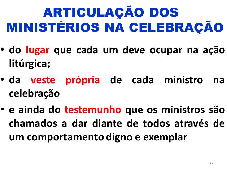 do lugar que cada um deve ocupar na ação litúrgica; da veste própria de cada ministro na celebração e ainda do testemunho que os ministros são chamado