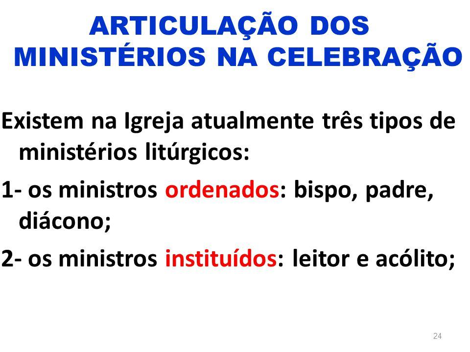 Existem na Igreja atualmente três tipos de ministérios litúrgicos: 1- os ministros ordenados: bispo, padre, diácono; 2- os ministros instituídos: leit