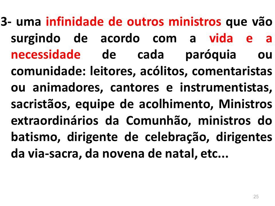 3- uma infinidade de outros ministros que vão surgindo de acordo com a vida e a necessidade de cada paróquia ou comunidade: leitores, acólitos, coment