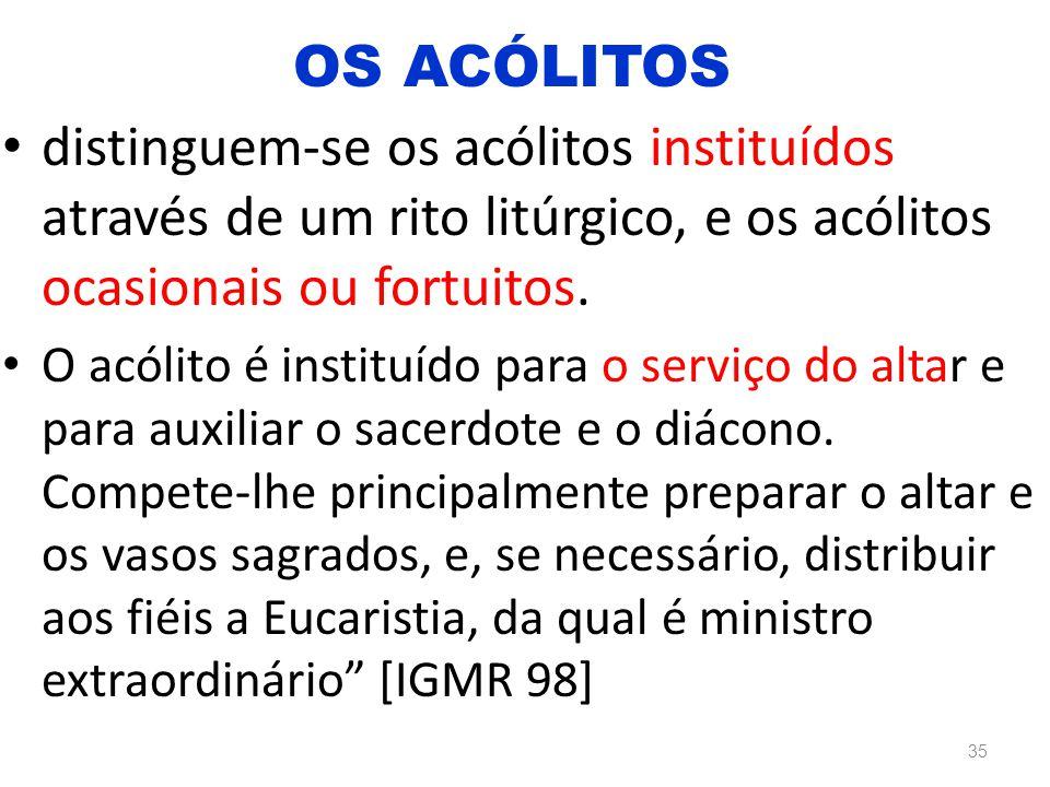 distinguem-se os acólitos instituídos através de um rito litúrgico, e os acólitos ocasionais ou fortuitos. O acólito é instituído para o serviço do al