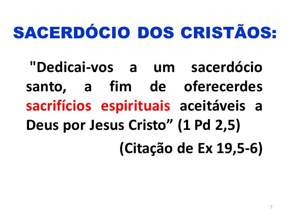 Dedicai-vos a um sacerdócio santo, a fim de oferecerdes sacrifícios espirituais aceitáveis a Deus por Jesus Cristo (1 Pd 2,5) (Citação de Ex 19,5-6) 7 SACERDÓCIO DOS CRISTÃOS: