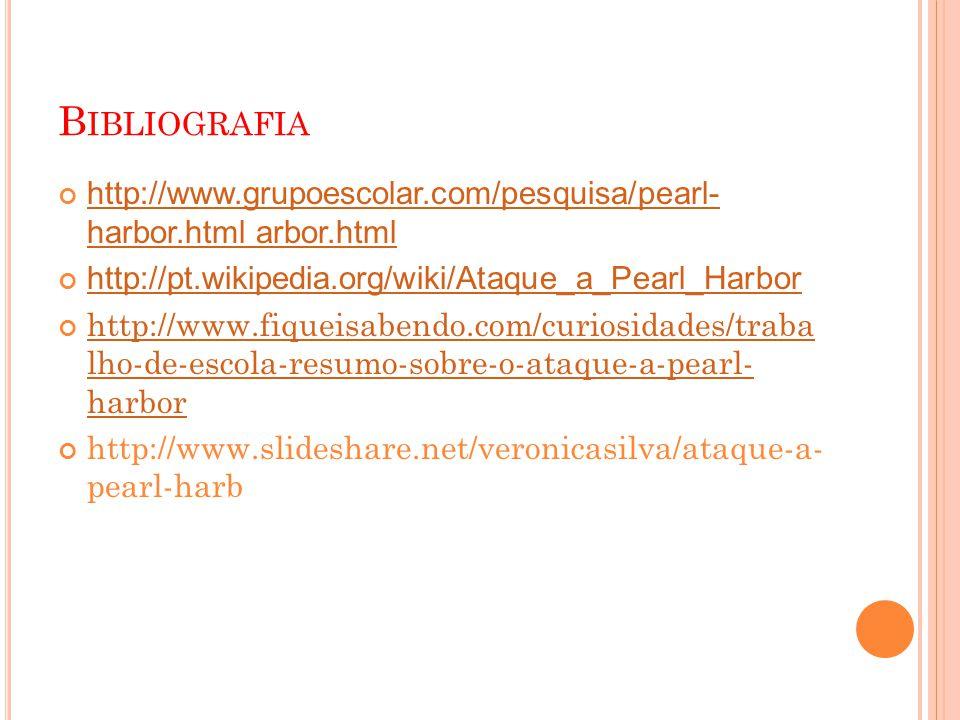 B IBLIOGRAFIA http://www.grupoescolar.com/pesquisa/pearl- harbor.html arbor.html http://pt.wikipedia.org/wiki/Ataque_a_Pearl_Harbor http://www.fiqueisabendo.com/curiosidades/traba lho-de-escola-resumo-sobre-o-ataque-a-pearl- harbor http://www.slideshare.net/veronicasilva/ataque-a- pearl-harb