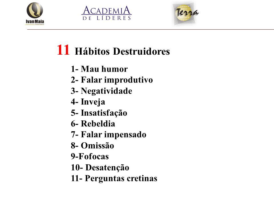 11 Hábitos Destruidores 1- Mau humor 2- Falar improdutivo 3- Negatividade 4- Inveja 5- Insatisfação 6- Rebeldia 7- Falar impensado 8- Omissão 9-Fofoca