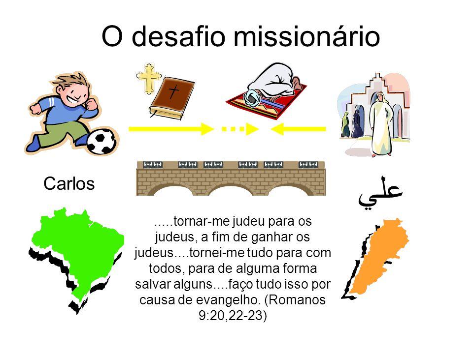 O desafio missionário Carlos علي.....tornar-me judeu para os judeus, a fim de ganhar os judeus....tornei-me tudo para com todos, para de alguma forma salvar alguns....faço tudo isso por causa de evangelho.