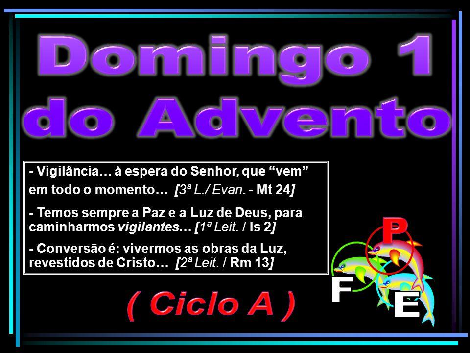 """- Vigilância… à espera do Senhor, que """"vem"""" em todo o momento… [3ª L./ Evan. - Mt 24] - Temos sempre a Paz e a Luz de Deus, para caminharmos vigilante"""