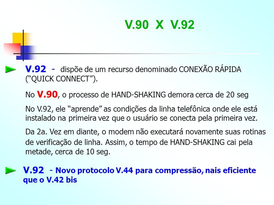 """V.90 X V.92 V.92 - dispõe de um recurso denominado CONEXÃO RÁPIDA (""""QUICK CONNECT""""). No V.90, o processo de HAND-SHAKING demora cerca de 20 seg No V.9"""