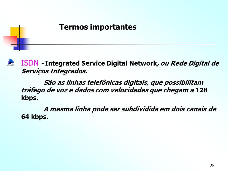 25 ISDN - Integrated Service Digital Network, ou Rede Digital de Serviços Integrados. São as linhas telefônicas digitais, que possibilitam tráfego de