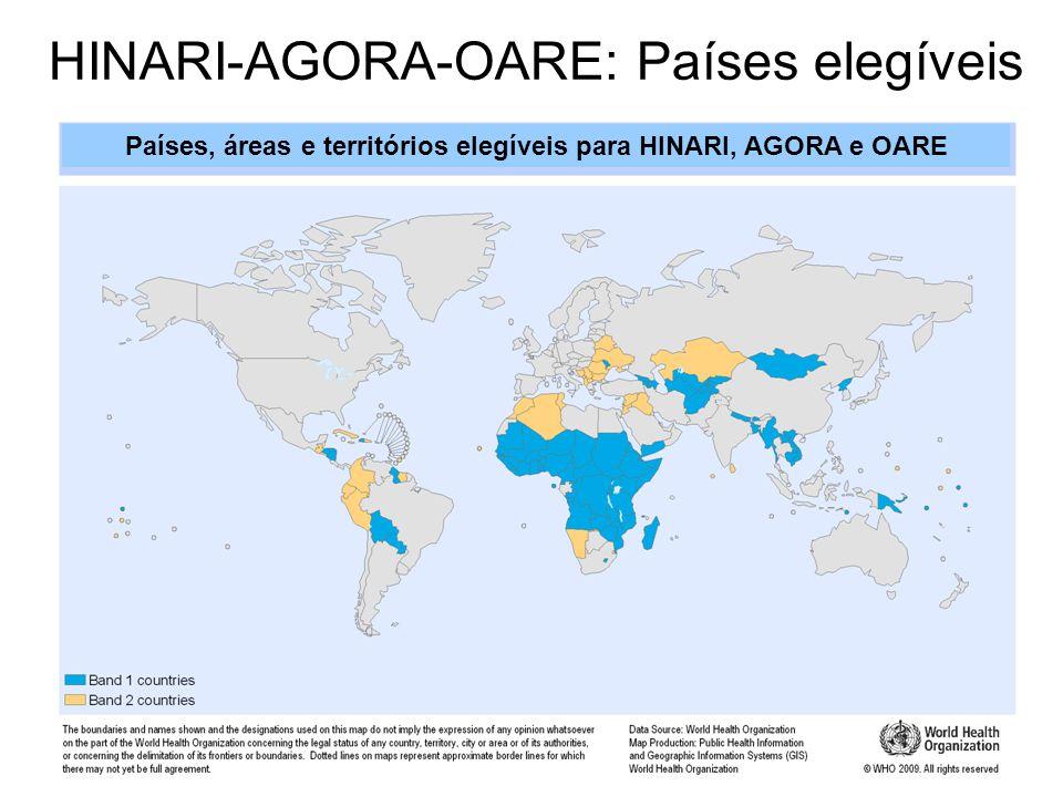 HINARI-AGORA-OARE: Países elegíveis Países, áreas e territórios elegíveis para HINARI, AGORA e OARE