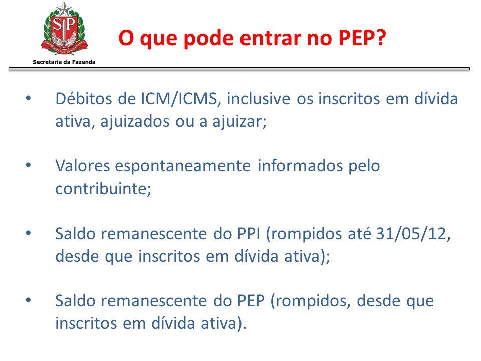 O que pode entrar no PEP? Débitos de ICM/ICMS, inclusive os inscritos em dívida ativa, ajuizados ou a ajuizar; Valores espontaneamente informados pelo