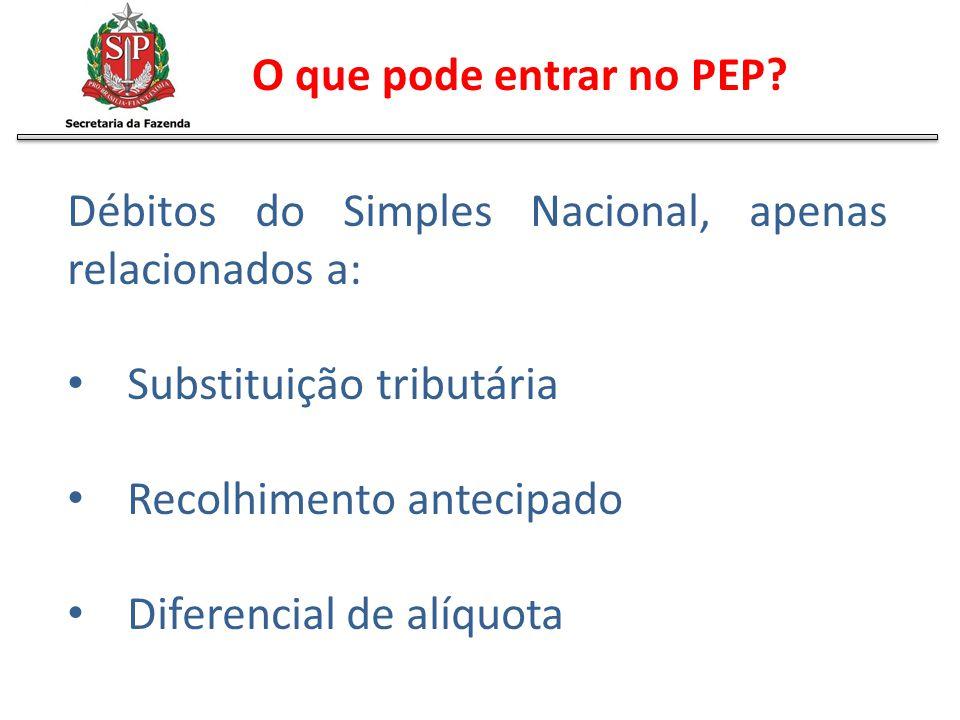 Débitos do Simples Nacional, apenas relacionados a: Substituição tributária Recolhimento antecipado Diferencial de alíquota O que pode entrar no PEP?