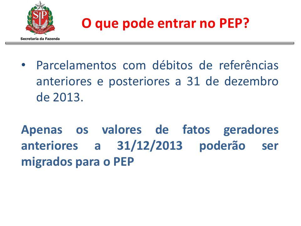 Parcelamentos com débitos de referências anteriores e posteriores a 31 de dezembro de 2013. Apenas os valores de fatos geradores anteriores a 31/12/20