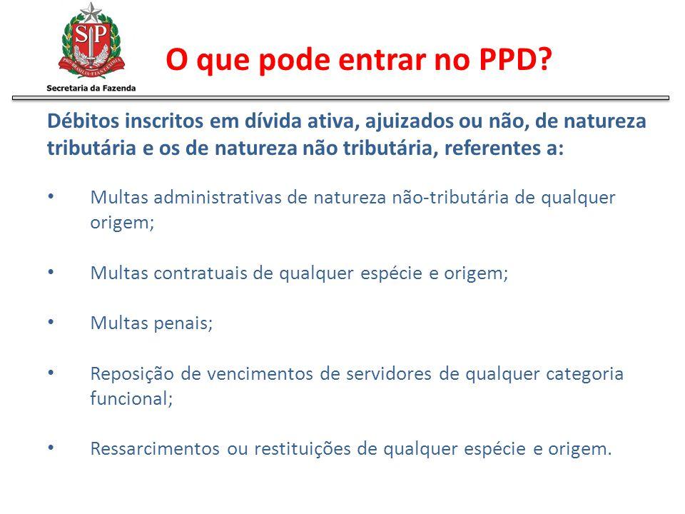 O que pode entrar no PPD? Débitos inscritos em dívida ativa, ajuizados ou não, de natureza tributária e os de natureza não tributária, referentes a: M