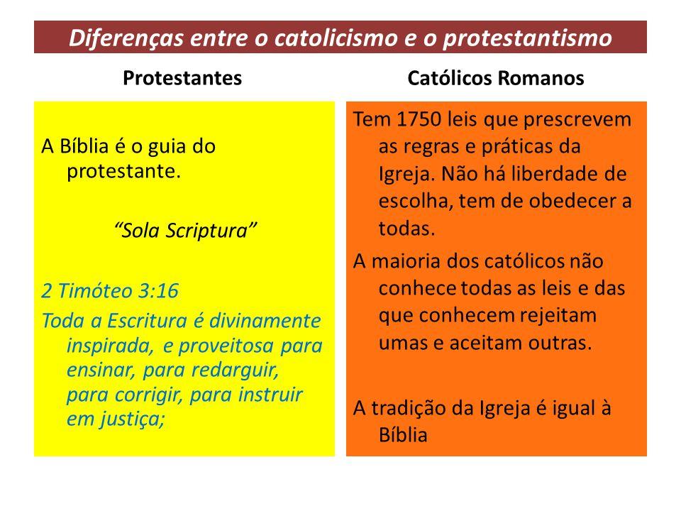 """Diferenças entre o catolicismo e o protestantismo Protestantes A Bíblia é o guia do protestante. """"Sola Scriptura"""" 2 Timóteo 3:16 Toda a Escritura é di"""