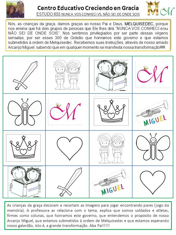 As crianças da graça decoram e recortam as imagens para jogar encontrando pares (jogo da memória). A professora as relaciona com o tema, explica que s