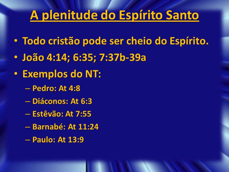 A plenitude do Espírito Santo Todo cristão pode ser cheio do Espírito. Todo cristão pode ser cheio do Espírito. João 4:14; 6:35; 7:37b-39a João 4:14;