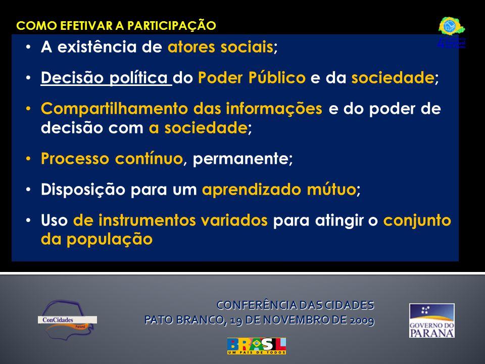 CONFERÊNCIA DAS CIDADES PATO BRANCO, 19 DE NOVEMBRO DE 2009 COMO EFETIVAR A PARTICIPAÇÃO A existência de atores sociais; Decisão política do Poder Púb