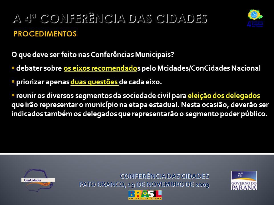 PROCEDIMENTOS A 4ª CONFERÊNCIA DAS CIDADES O que deve ser feito nas Conferências Municipais?  debater sobre os eixos recomendados pelo Mcidades/ConCi