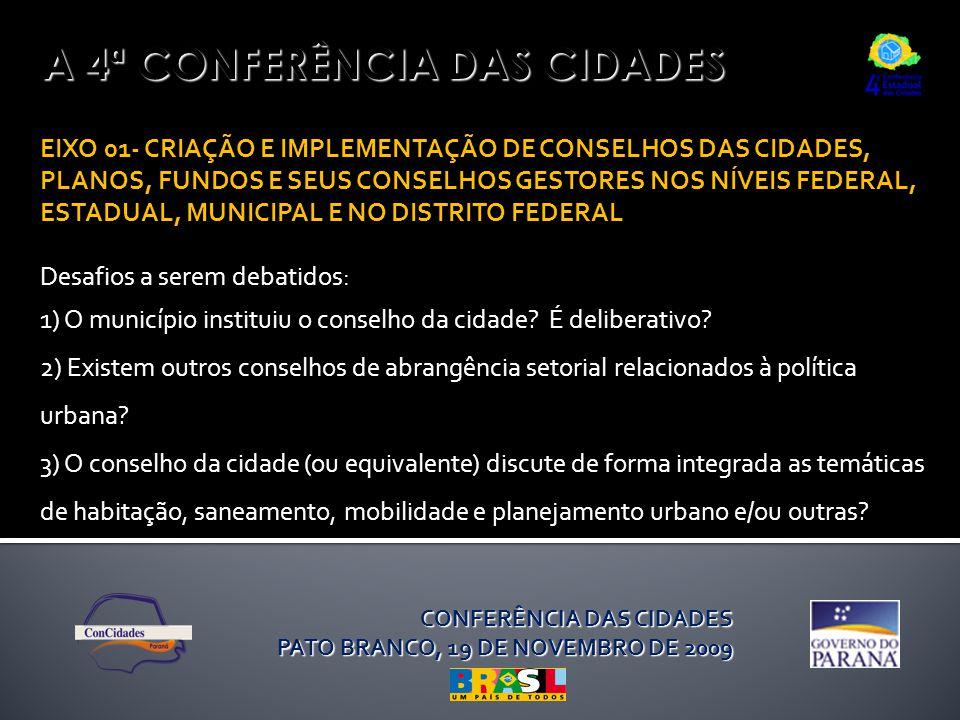 A 4ª CONFERÊNCIA DAS CIDADES EIXO 01- CRIAÇÃO E IMPLEMENTAÇÃO DE CONSELHOS DAS CIDADES, PLANOS, FUNDOS E SEUS CONSELHOS GESTORES NOS NÍVEIS FEDERAL, ESTADUAL, MUNICIPAL E NO DISTRITO FEDERAL Desafios a serem debatidos: 1) O município instituiu o conselho da cidade.