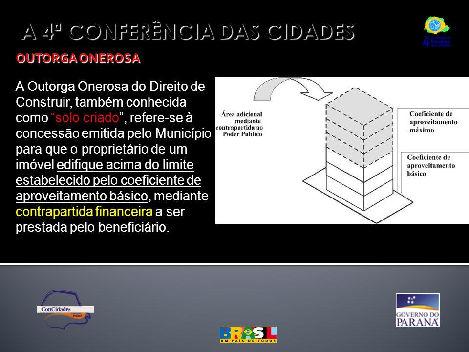 """A 4ª CONFERÊNCIA DAS CIDADES OUTORGA ONEROSA A Outorga Onerosa do Direito de Construir, também conhecida como """"solo criado"""", refere-se à concessão emi"""