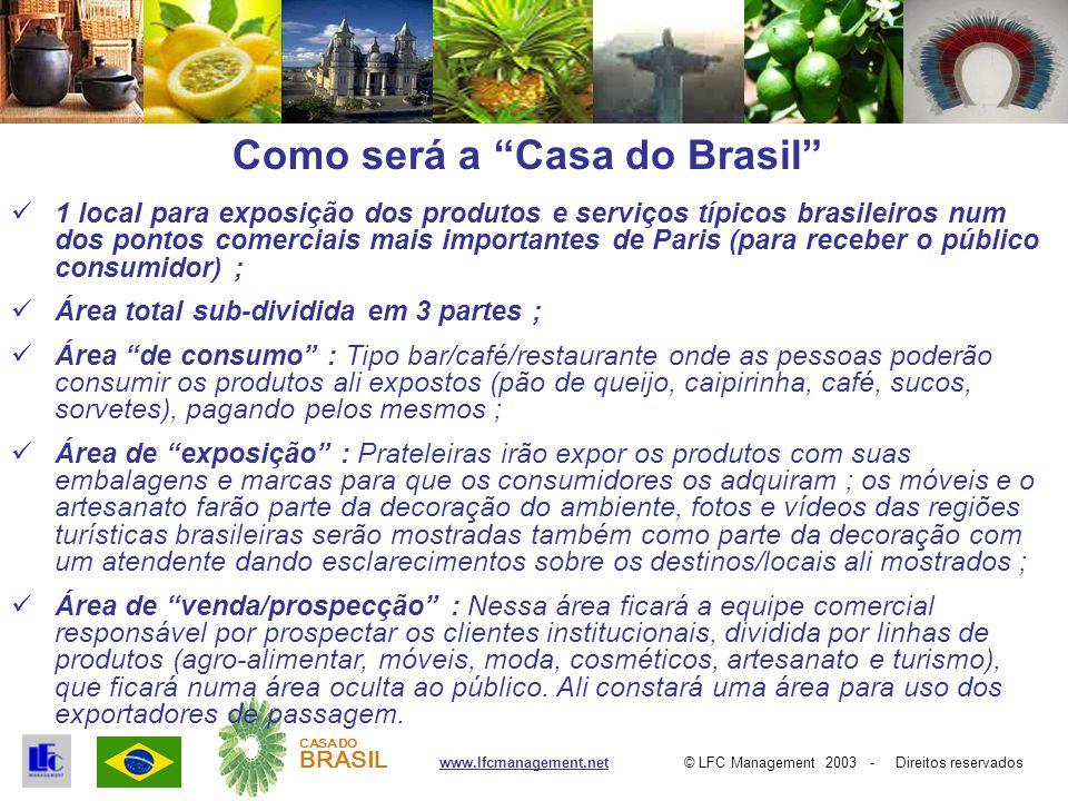 © LFC Management 2003 - Direitos reservadoswww.lfcmanagement.net CASA DO BRASIL Recursos Necessários e Retorno 1 loja / escritório de 250 a 450 m 2 em Paris ; 1 gerente, 3 vendedores, 1 assistente e 6 atendentes na loja de Paris ; 1 escritório parceiro em São Paulo que será responsável por dar o suporte no Brasil ao exportador local e fazer a interligação com a Casa do Brasil em Paris ; Investimento estimado cerca de € 2,5 milhões ao longo de 12 meses ; Retorno estimado em 2 anos.