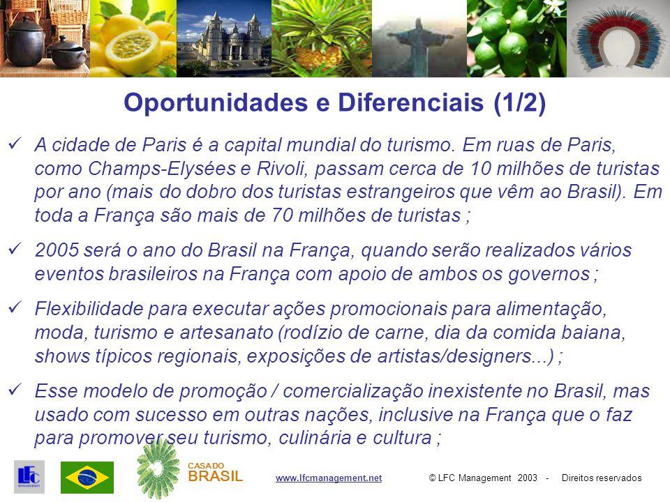 © LFC Management 2003 - Direitos reservadoswww.lfcmanagement.net CASA DO BRASIL Oportunidades e Diferenciais (1/2) A cidade de Paris é a capital mundial do turismo.