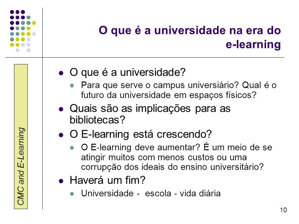 CMC and E-Learning 10 O que é a universidade na era do e-learning O que é a universidade? Para que serve o campus universiário? Qual é o futuro da uni