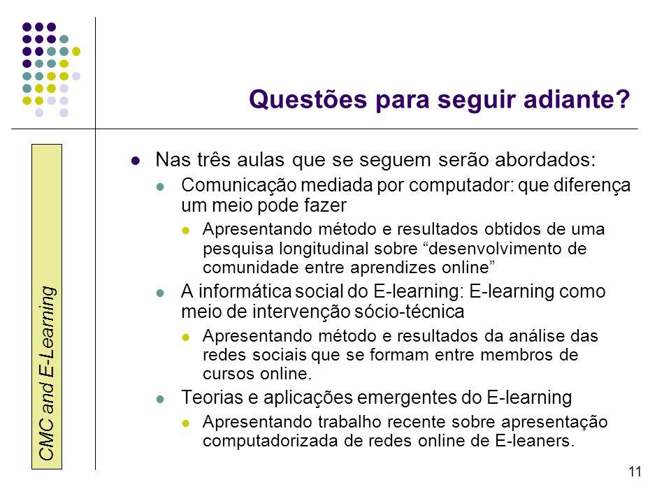 CMC and E-Learning 11 Questões para seguir adiante? Nas três aulas que se seguem serão abordados: Comunicação mediada por computador: que diferença um