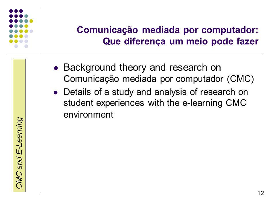 CMC and E-Learning 12 Comunicação mediada por computador: Que diferença um meio pode fazer Background theory and research on Comunicação mediada por c