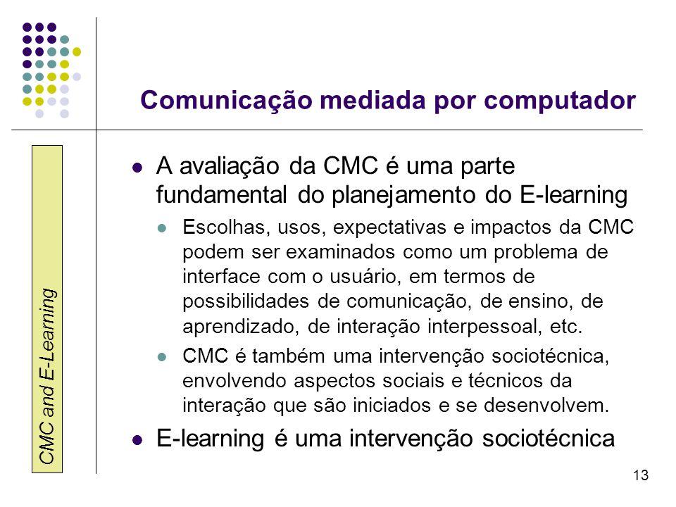 CMC and E-Learning 13 Comunicação mediada por computador A avaliação da CMC é uma parte fundamental do planejamento do E-learning Escolhas, usos, expe