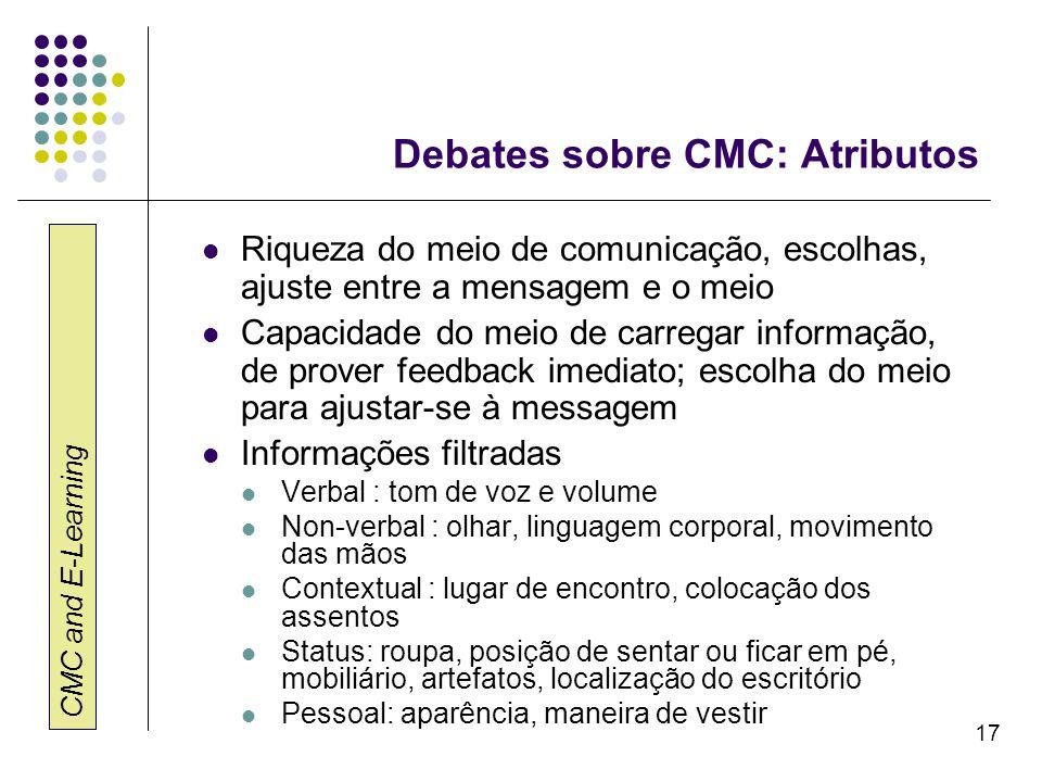 CMC and E-Learning 17 Debates sobre CMC: Atributos Riqueza do meio de comunicação, escolhas, ajuste entre a mensagem e o meio Capacidade do meio de ca