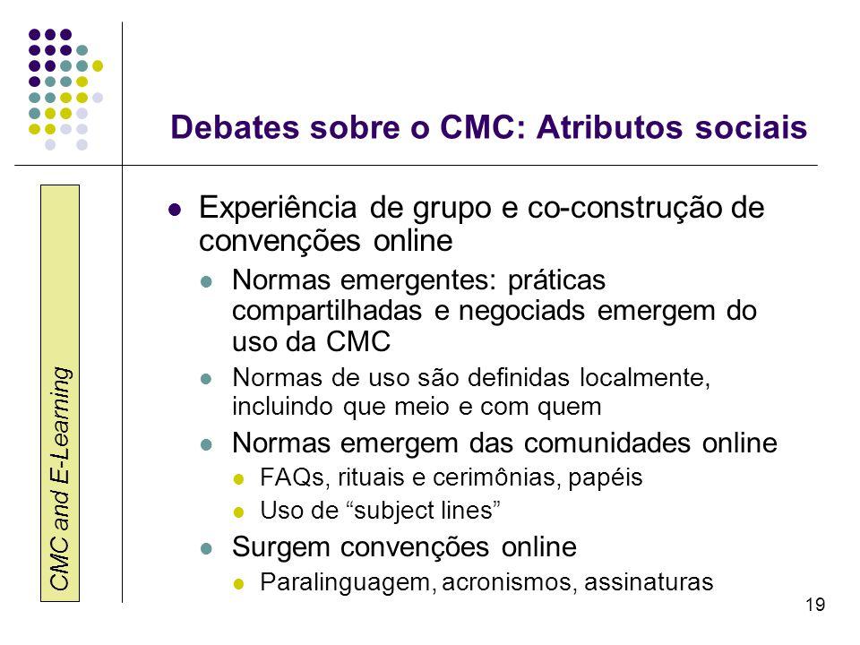 CMC and E-Learning 19 Debates sobre o CMC: Atributos sociais Experiência de grupo e co-construção de convenções online Normas emergentes: práticas com