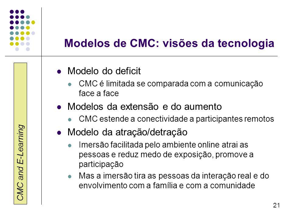 CMC and E-Learning 21 Modelos de CMC: visões da tecnologia Modelo do deficit CMC é limitada se comparada com a comunicação face a face Modelos da exte