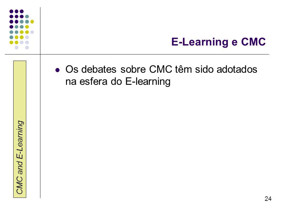 CMC and E-Learning 24 E-Learning e CMC Os debates sobre CMC têm sido adotados na esfera do E-learning