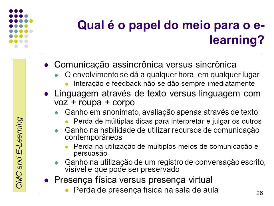CMC and E-Learning 26 Qual é o papel do meio para o e- learning? Comunicação assincrônica versus sincrônica O envolvimento se dá a qualquer hora, em q