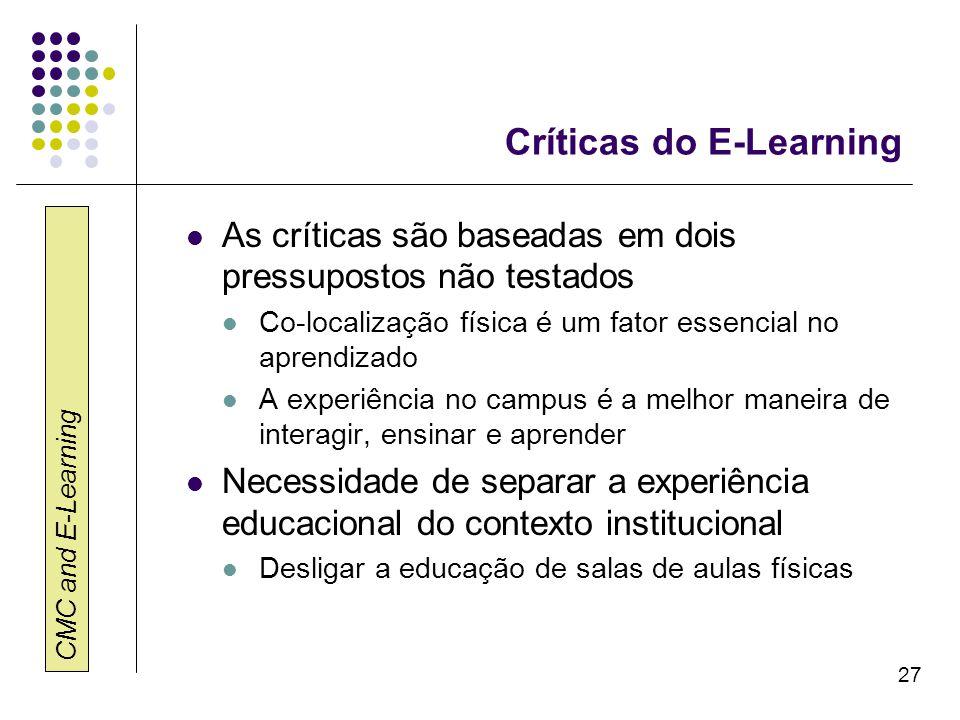 CMC and E-Learning 27 Críticas do E-Learning As críticas são baseadas em dois pressupostos não testados Co-localização física é um fator essencial no
