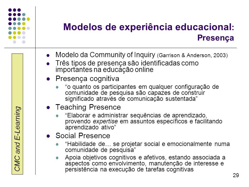 CMC and E-Learning 29 Modelos de experiência educacional : Presença Modelo da Community of Inquiry (Garrison & Anderson, 2003) Três tipos de presença