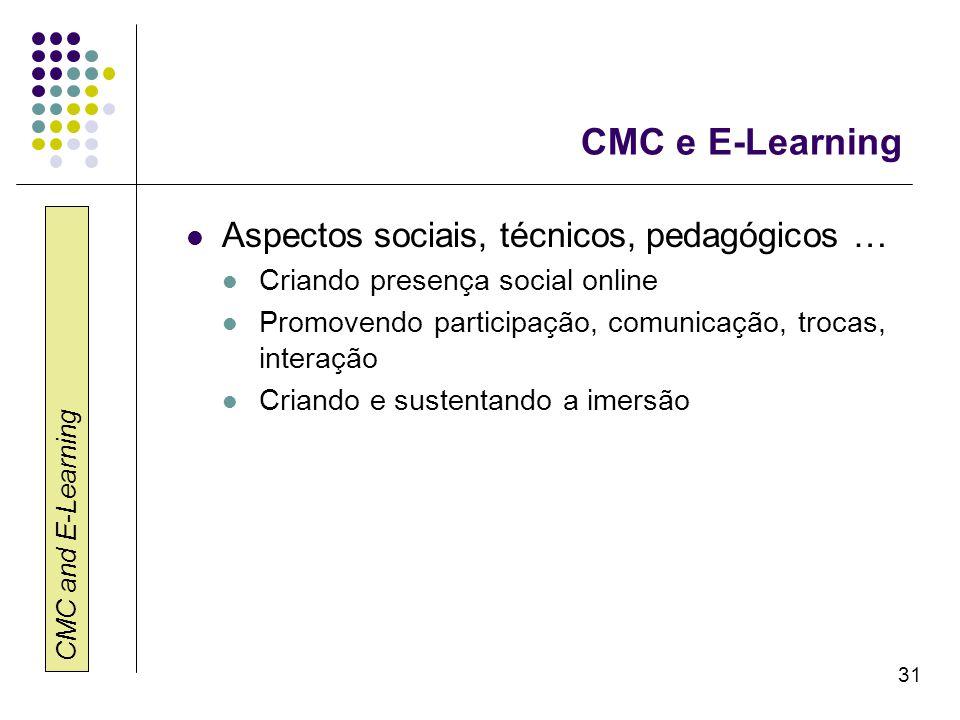 CMC and E-Learning 31 CMC e E-Learning Aspectos sociais, técnicos, pedagógicos … Criando presença social online Promovendo participação, comunicação,