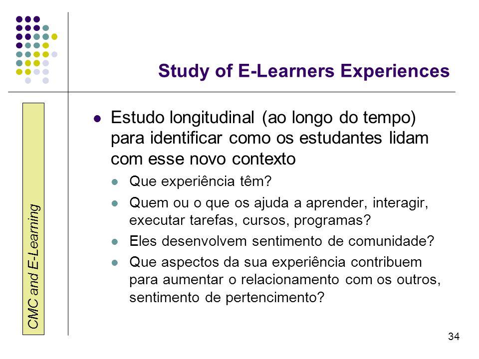 CMC and E-Learning 34 Study of E-Learners Experiences Estudo longitudinal (ao longo do tempo) para identificar como os estudantes lidam com esse novo