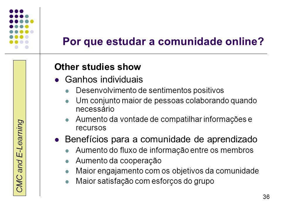 CMC and E-Learning 36 Por que estudar a comunidade online? Other studies show Ganhos individuais Desenvolvimento de sentimentos positivos Um conjunto