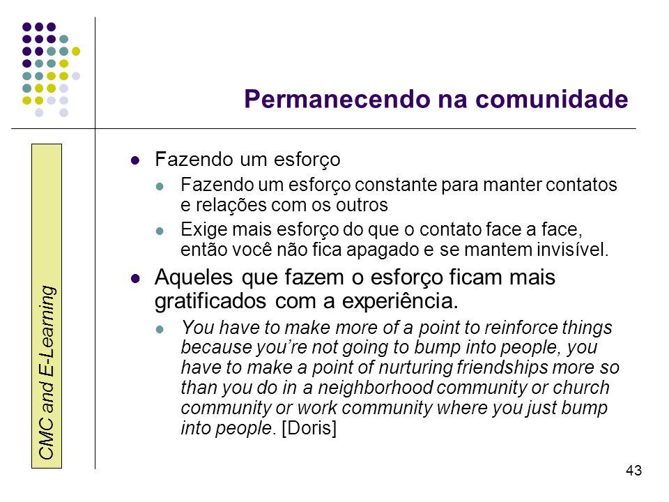 CMC and E-Learning 43 Permanecendo na comunidade Fazendo um esforço Fazendo um esforço constante para manter contatos e relações com os outros Exige m