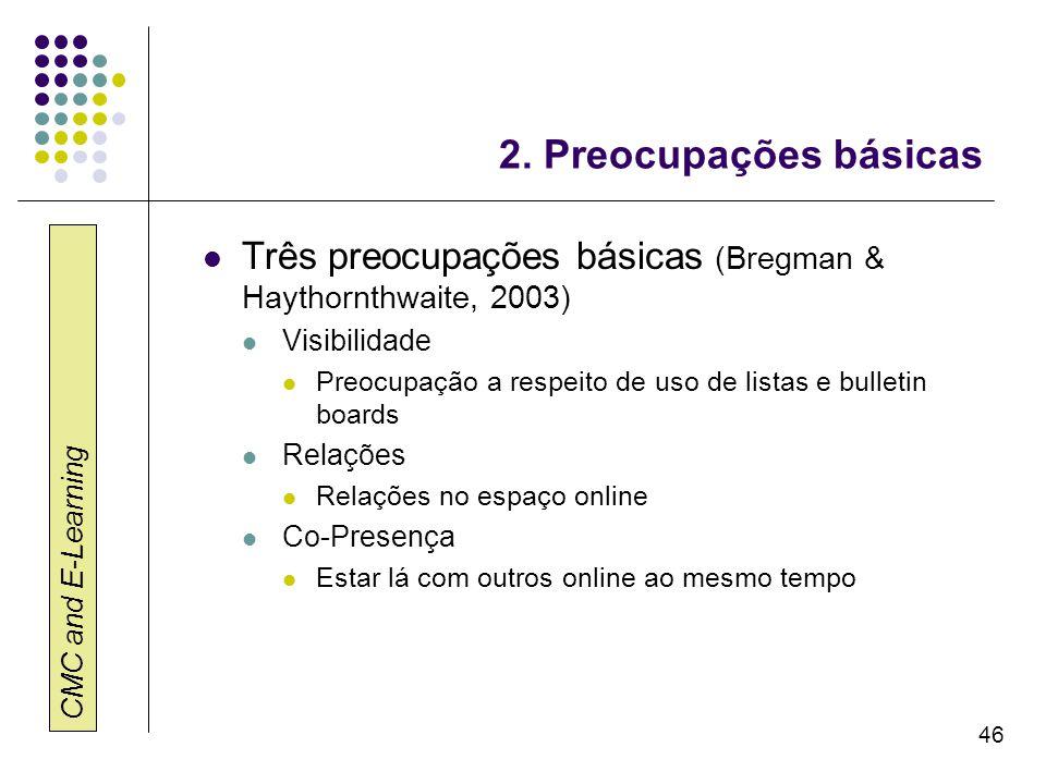 CMC and E-Learning 46 2. Preocupações básicas Três preocupações básicas (Bregman & Haythornthwaite, 2003) Visibilidade Preocupação a respeito de uso d