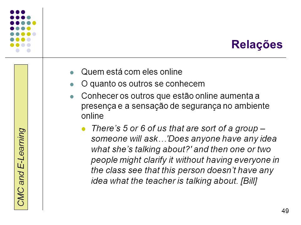 CMC and E-Learning 49 Relações Quem está com eles online O quanto os outros se conhecem Conhecer os outros que estão online aumenta a presença e a sen