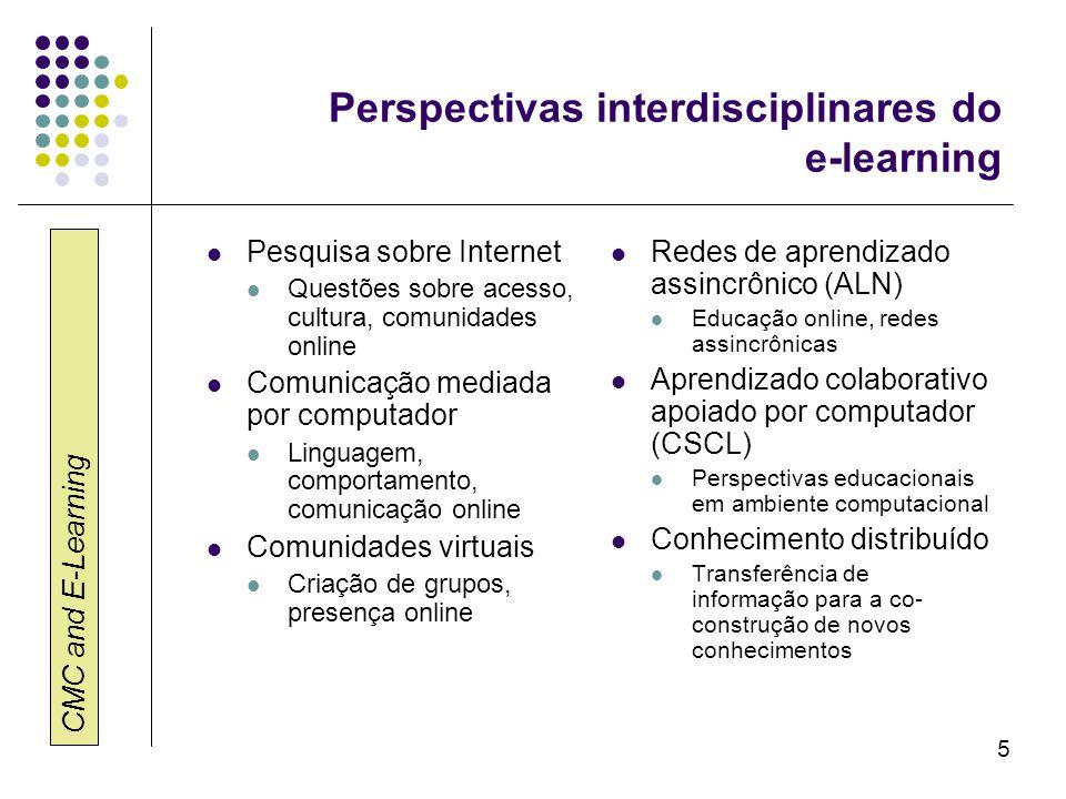 CMC and E-Learning 5 Perspectivas interdisciplinares do e-learning Pesquisa sobre Internet Questões sobre acesso, cultura, comunidades online Comunica