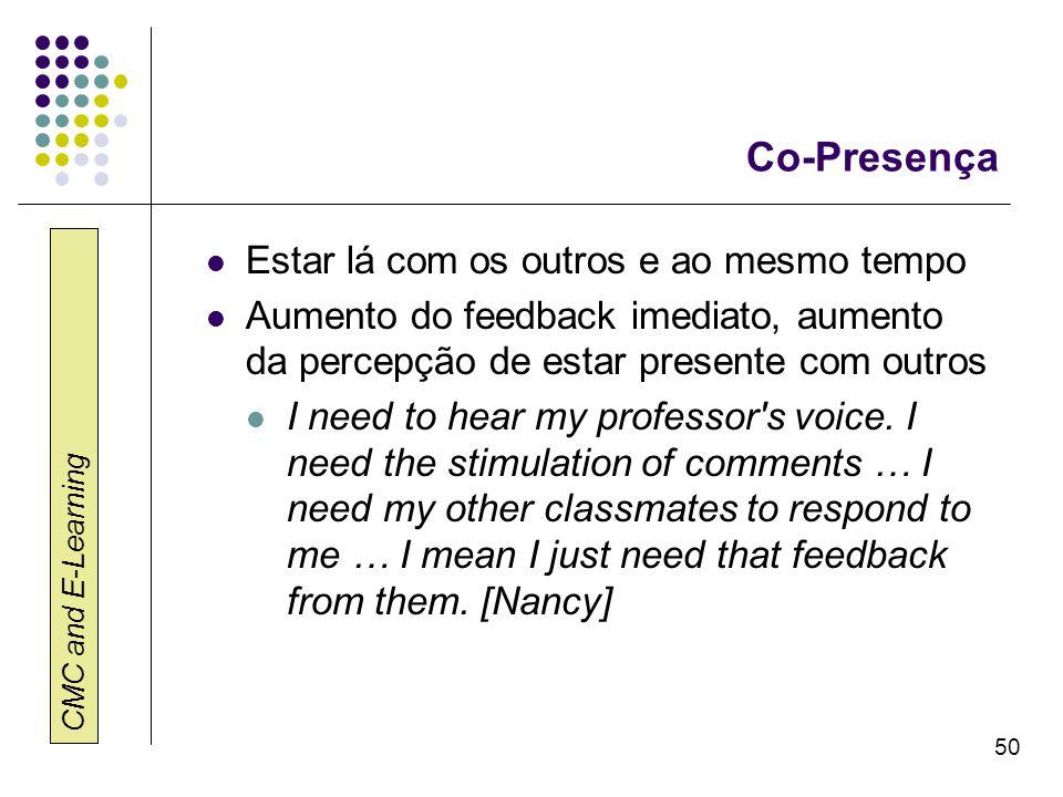 CMC and E-Learning 50 Co-Presença Estar lá com os outros e ao mesmo tempo Aumento do feedback imediato, aumento da percepção de estar presente com out