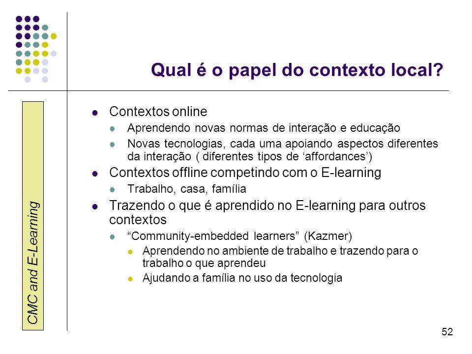 CMC and E-Learning 52 Qual é o papel do contexto local? Contextos online Aprendendo novas normas de interação e educação Novas tecnologias, cada uma a