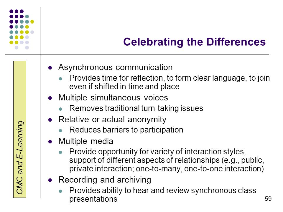 CMC and E-Learning 59 Celebrating the Differences Asynchronous communication Provides time for reflection, to form clear language, to join even if shi